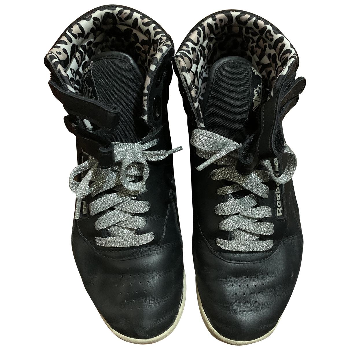Reebok - Baskets   pour femme en cuir - noir