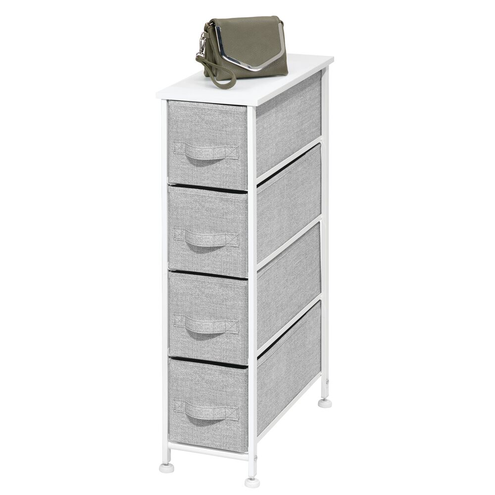 4 Drawer Narrow Vertical Dresser with Fabric Drawers in Gray, 19