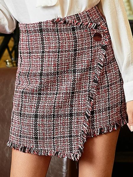 Yoins Light Pink Tassel Details Check High-Waisted Skirt