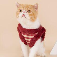 1pc Gingham Plush Cat Harness & 1pc Cat Leash