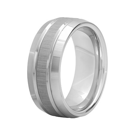 Personalized Mens 9mm Comfort Fit Tungsten Carbide Double Groove Wedding Band, 12 1/2 , No Color Family