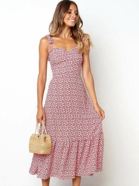 Milanoo Floral Maxi Dress Sleeveless Ruffles Shaping Summer Dress