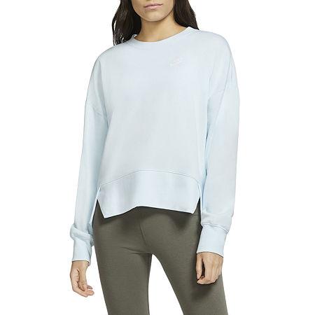 Nike Womens Plus Crew Neck Long Sleeve Sweatshirt, 1x , Blue