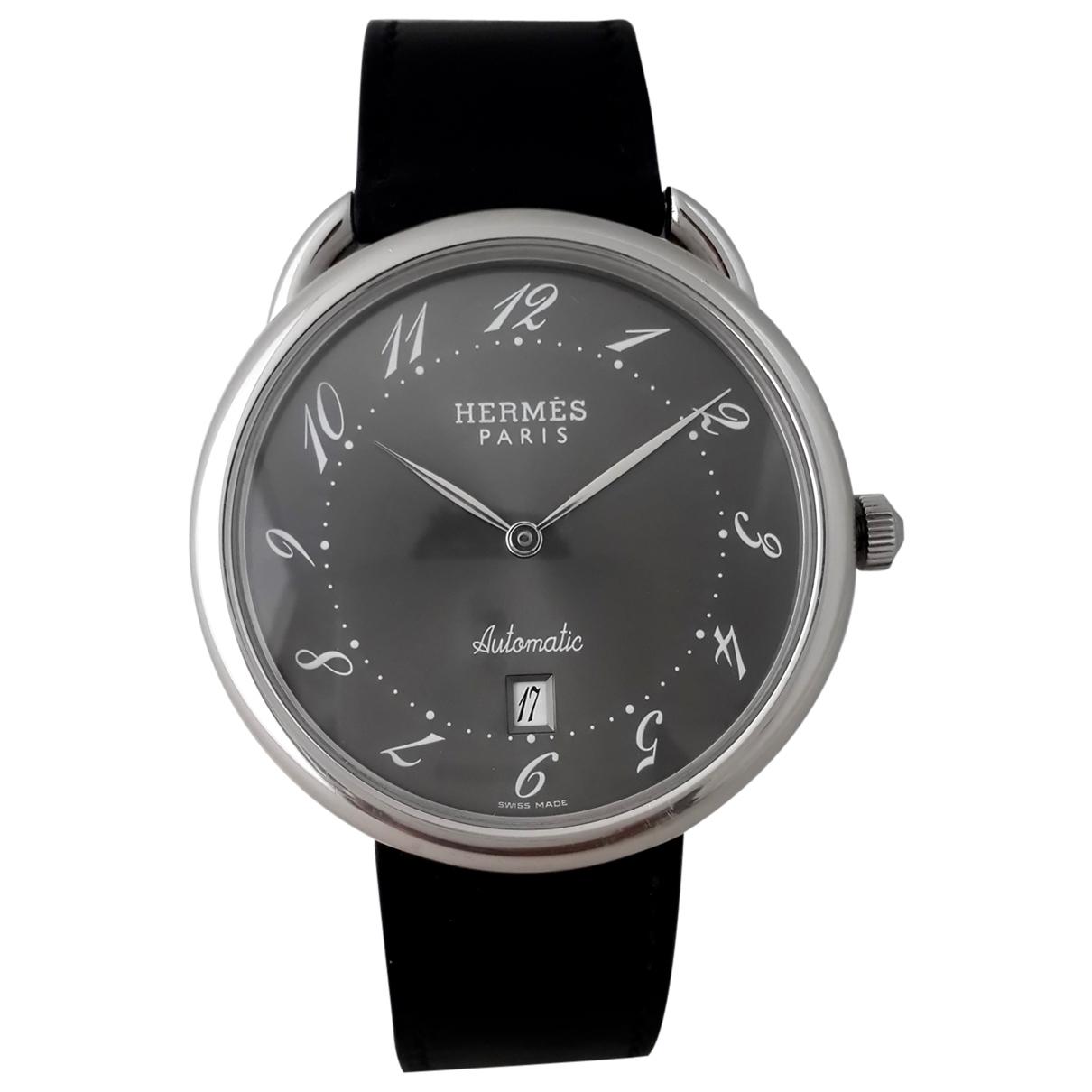Hermes Arceau Uhr in  Anthrazit Stahl