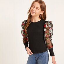 Girls Floral Embroidered Mesh Sleeve Rib-knit Top