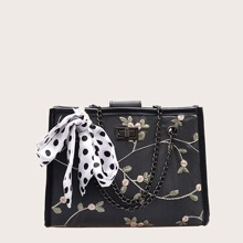 Twilly Scarf Decor Flower Embroidered Tote Bag