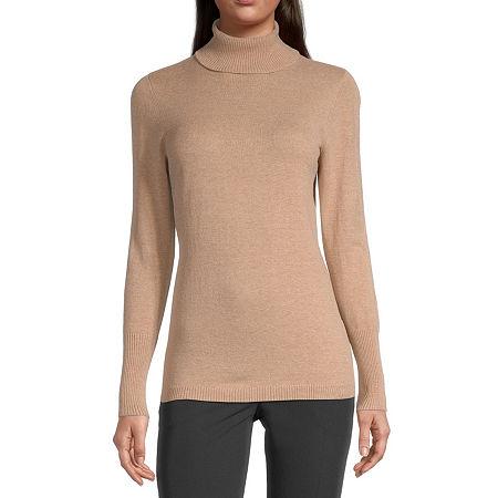 Worthington Womens Turtleneck Long Sleeve Pullover Sweater, Petite Medium , Beige