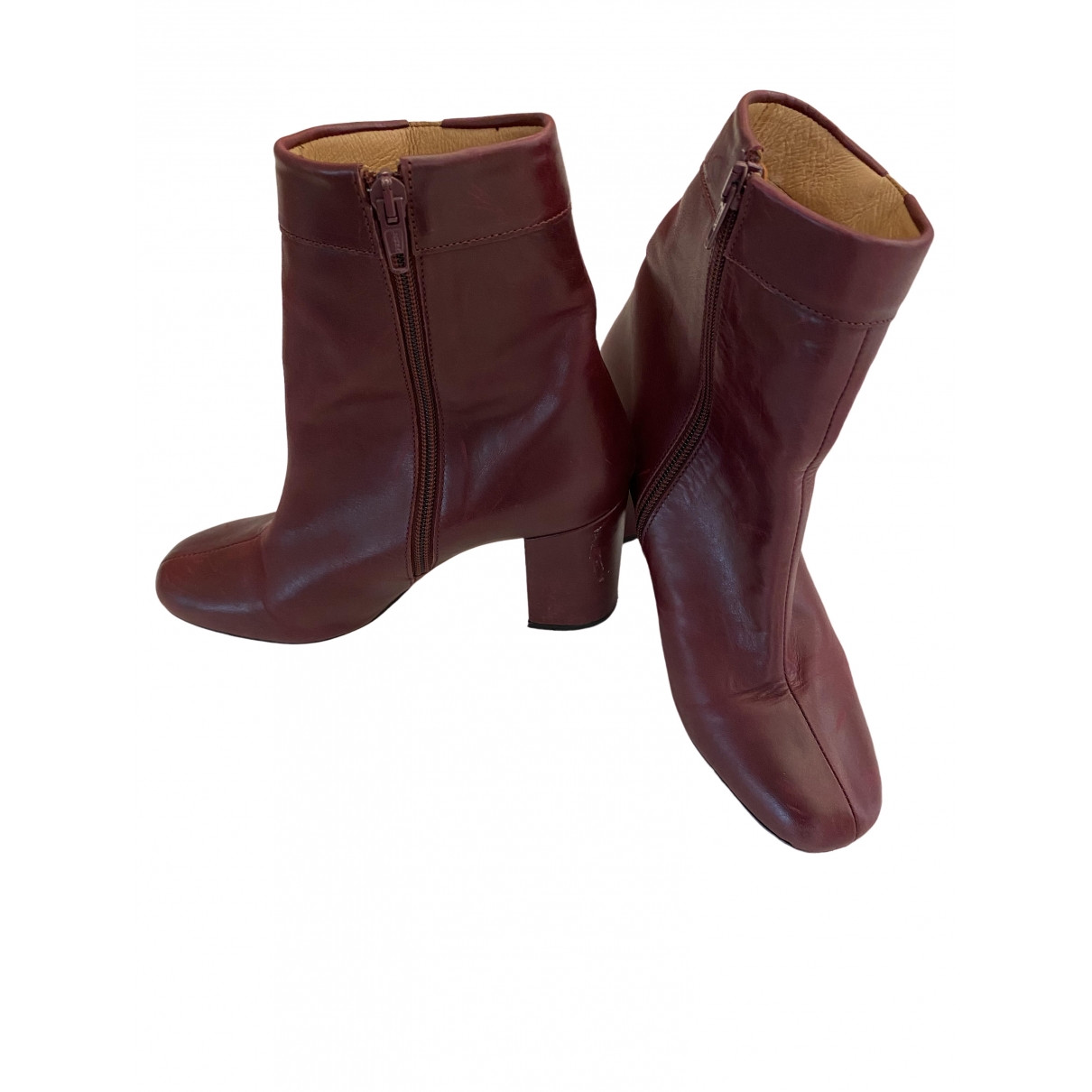 Petite Mendigote \N Stiefel in  Bordeauxrot Leder