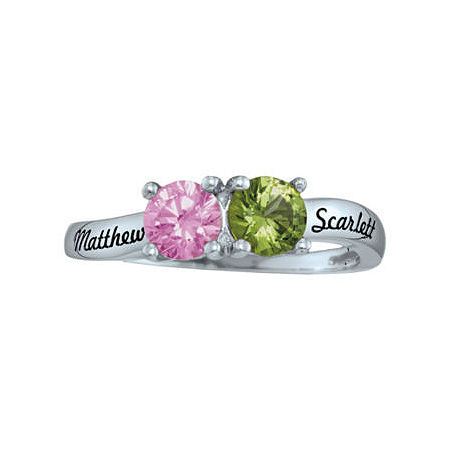 Personalized Simulated Birthstones Couples Ring, 6 , White