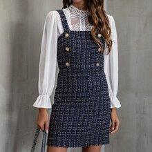 Zweireihiges Tweed Cami Kleid mit Karo Muster
