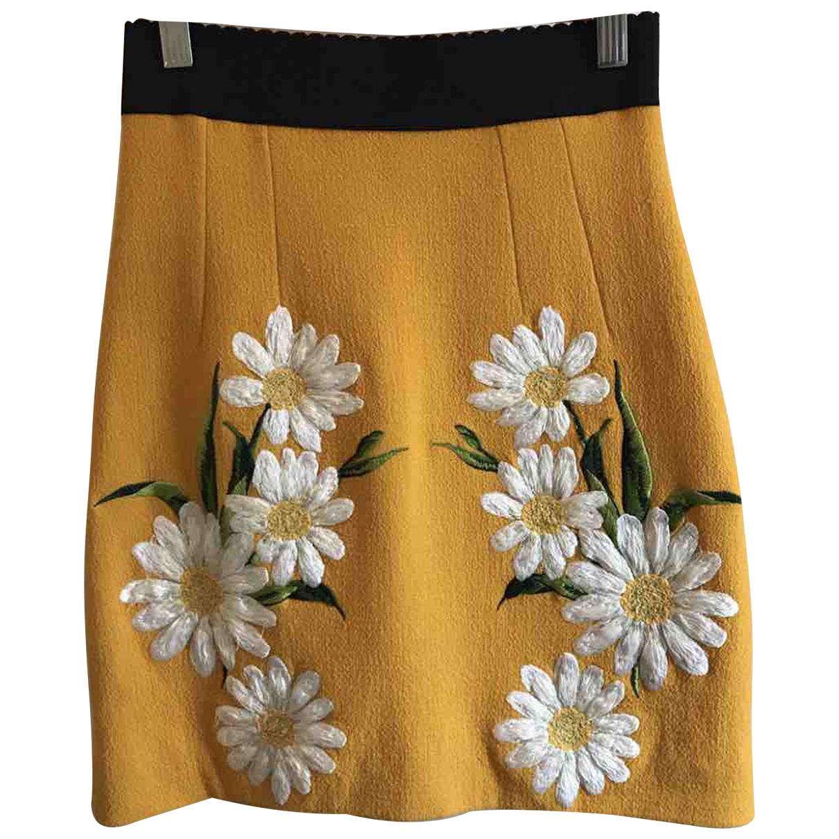 Dolce & Gabbana - Jupe   pour femme en laine - jaune