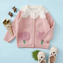 Toddler Girls Pocket Patched Button Front Cardigan