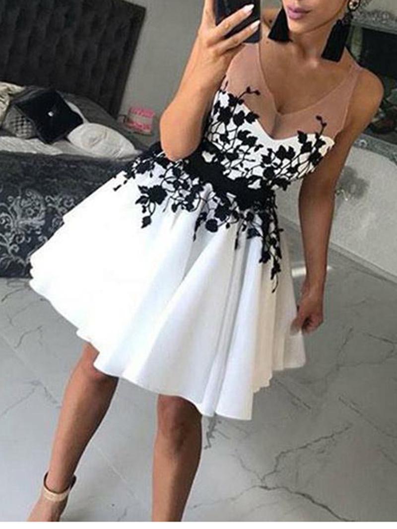 Ericdress V-Neck Appliques Short Cocktail Dress