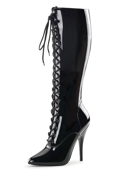 Milanoo Sexy High Heel Boots Pointed Toe Sequins Stiletto Heel Rave Club Black Thigh High Boots