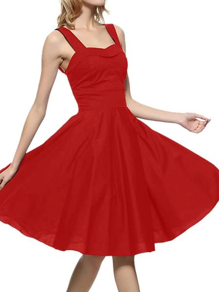 Milanoo Retro Dress 1950s Straps Neck Sleeveless Woman Swing Dress