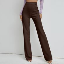 High Waist Solid Straight Pants
