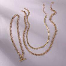3 Stuecke Halskette mit Kreis Dekor