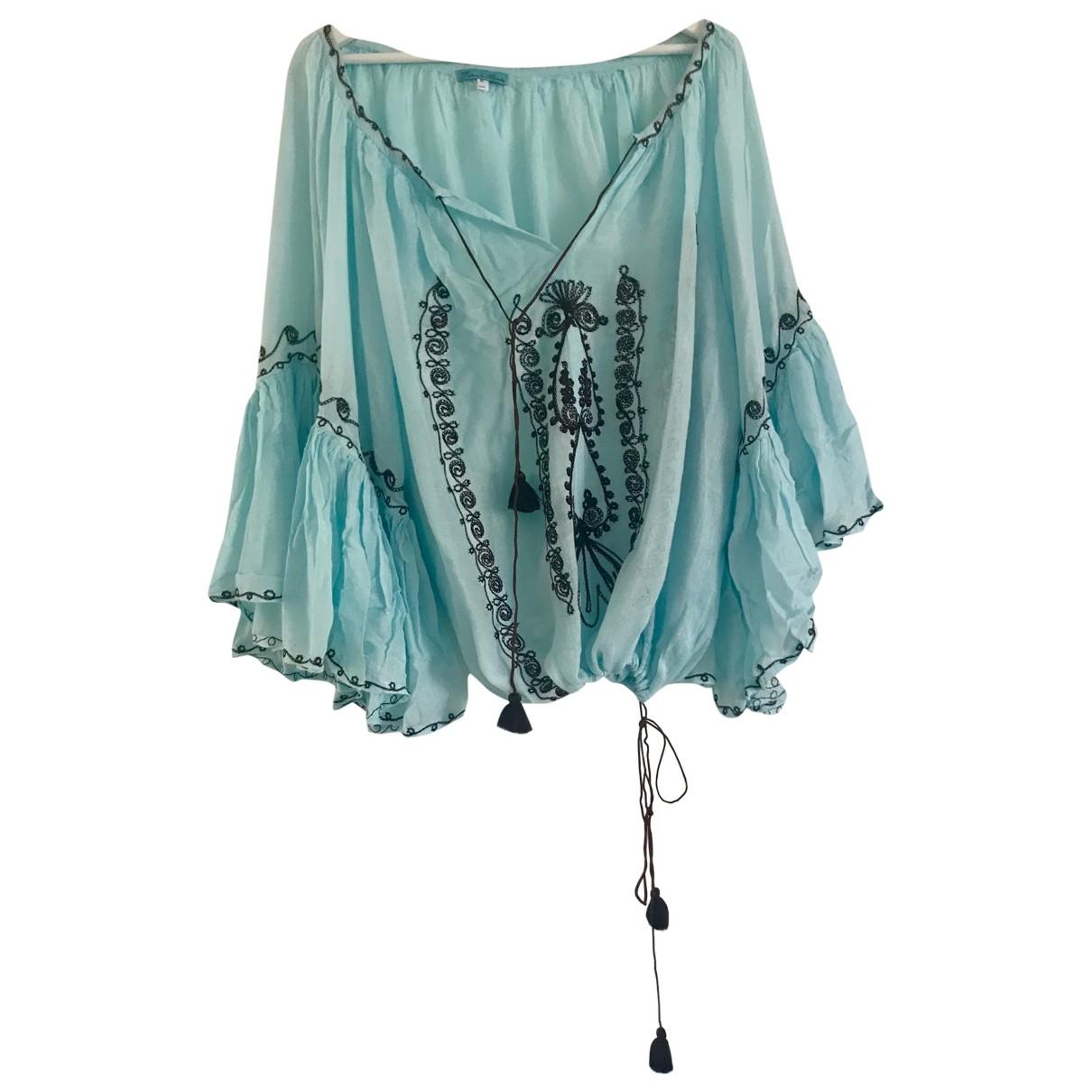 - Top Manche ballon pour femme en coton - turquoise