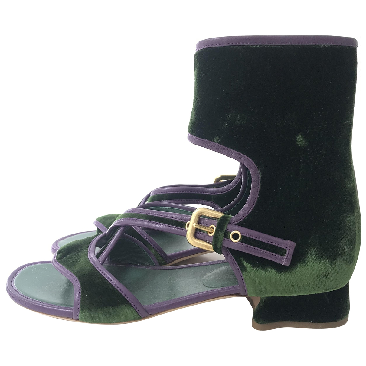 Prada \N Green Velvet Sandals for Women 37 IT