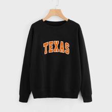 Plus Letter Graphic Round Neck Sweatshirt