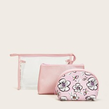 3pcs Flower Print Makeup Bag