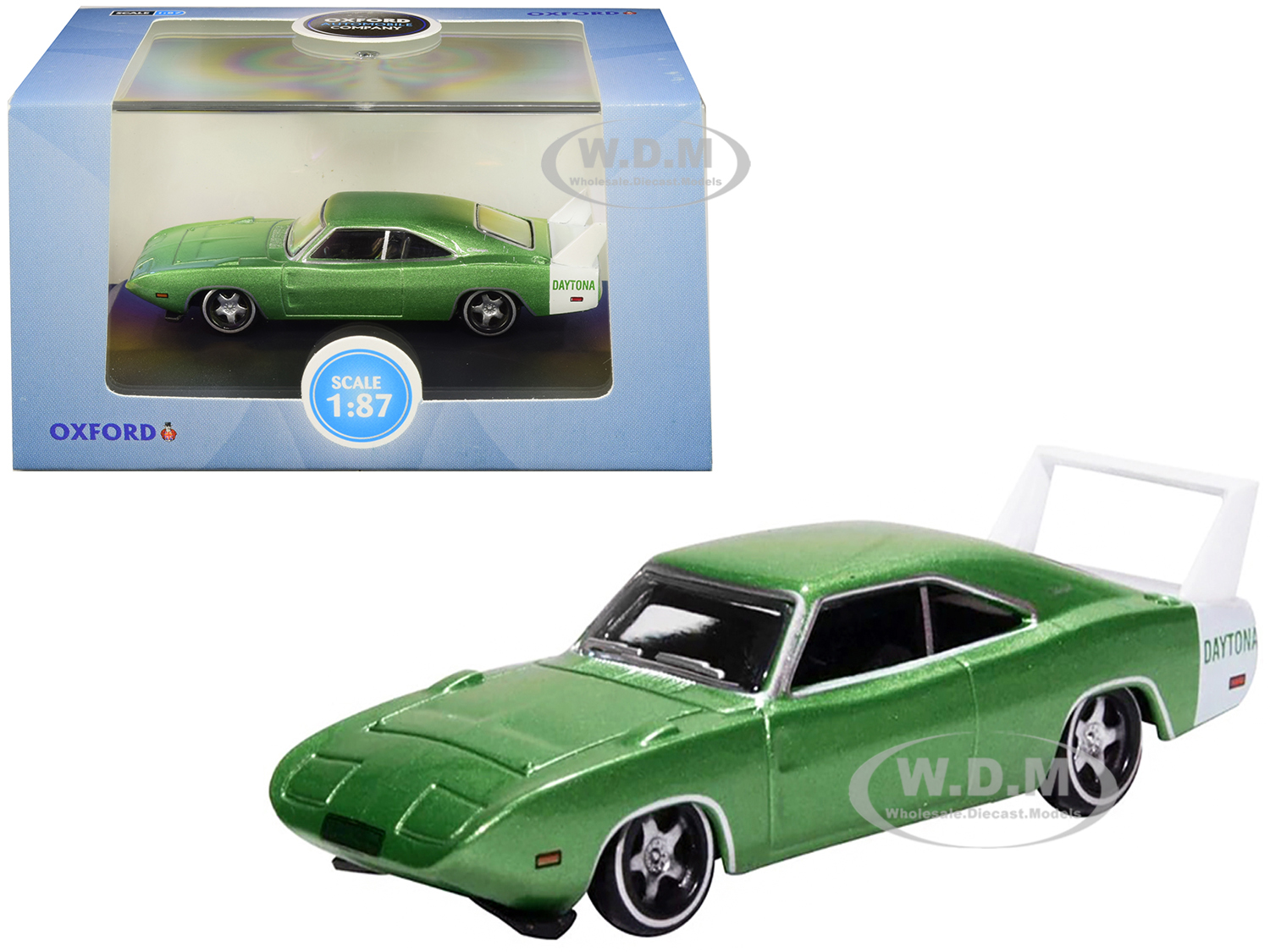 1969 Dodge Charger Daytona Metallic Bright Green with White Stripe 1/87 (HO) Scale Diecast Model Car by Oxford Diecast
