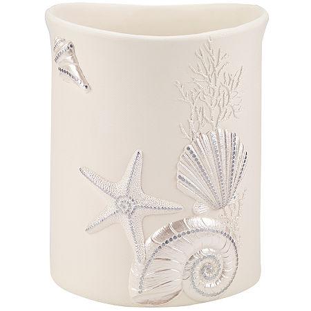 Avanti Sequin Shell Wastebasket, One Size , White
