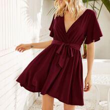 Surplice Neck Self Tie A-line Dress