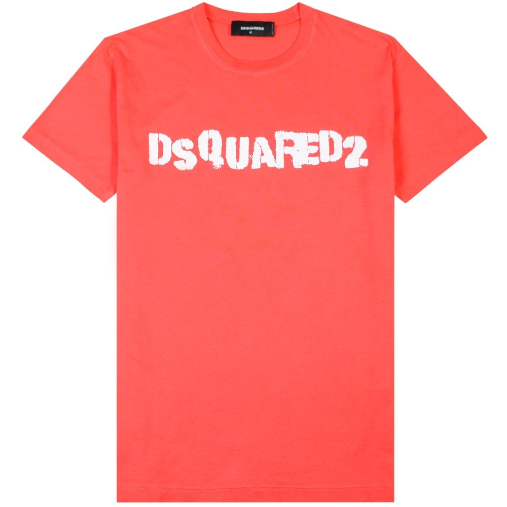 Dsquared2 Logo Print T-Shirt Colour: RED, Size: EXTRA EXTRA LARGE
