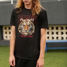 T-Shirt mit Tiger und Buchstaben Grafik