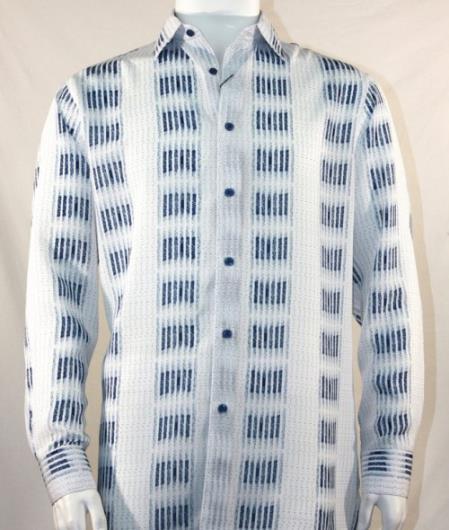 Fashion Full Cut Long Sleeve Bronze Squares Stripe White Shirt