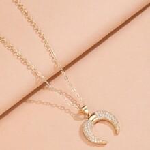 Rhinestone Decor Moon Charm Necklace