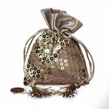 Silver Sequins Bags - 3-1/2 X 5-1/8 - Satin - Quantity: 12 - Fabric Bags by Paper Mart
