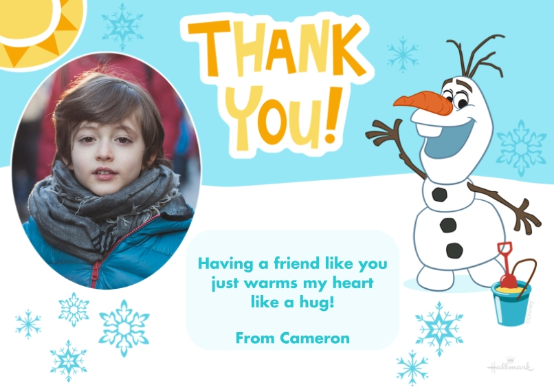 Kids Thank You Cards 5x7 Cards, Standard Cardstock 85lb, Card & Stationery -Olaf Thank You