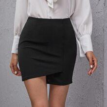 Zip Side Asymmetrical Hem Mini Skirt