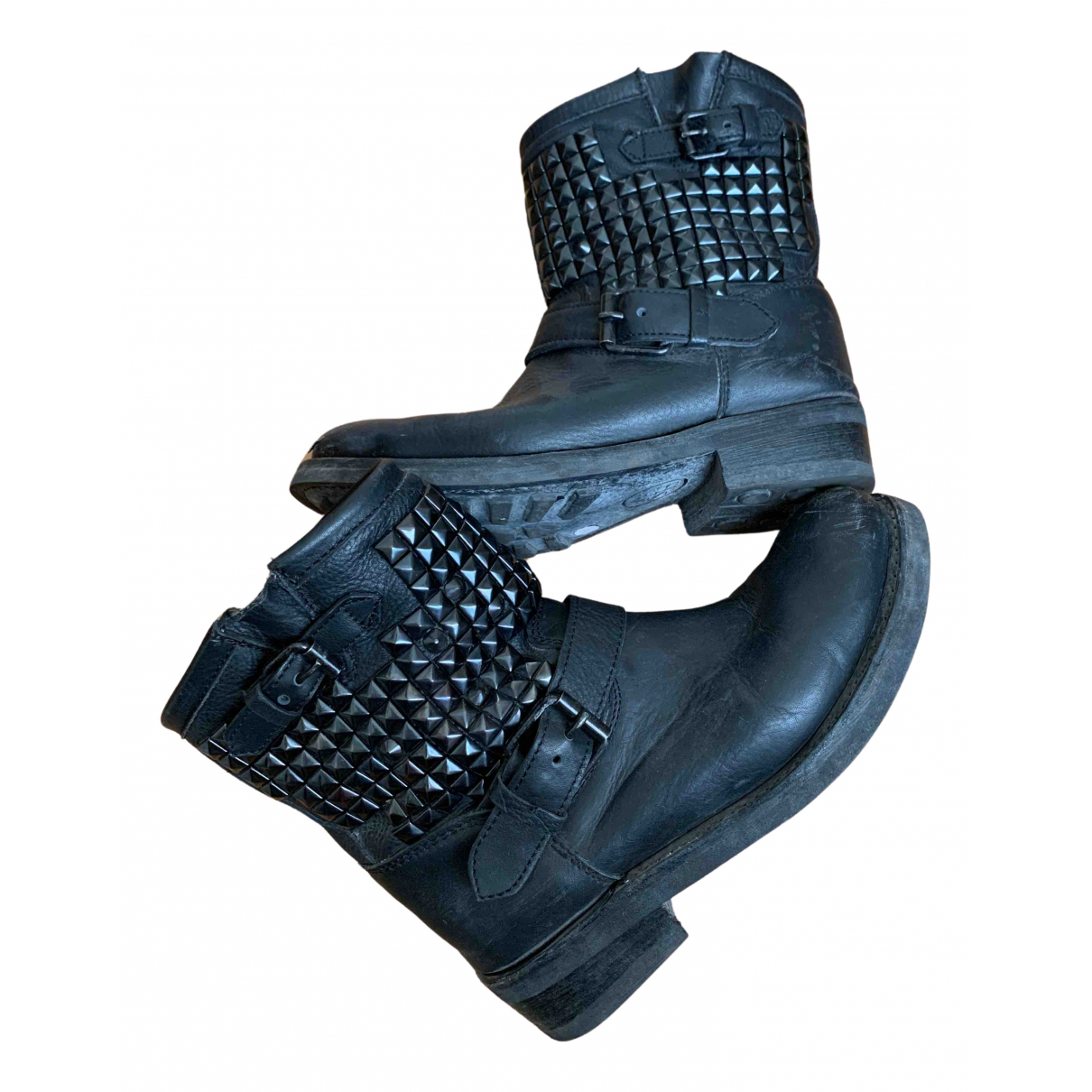 Ash N Black Leather Ankle boots for Women 40 EU
