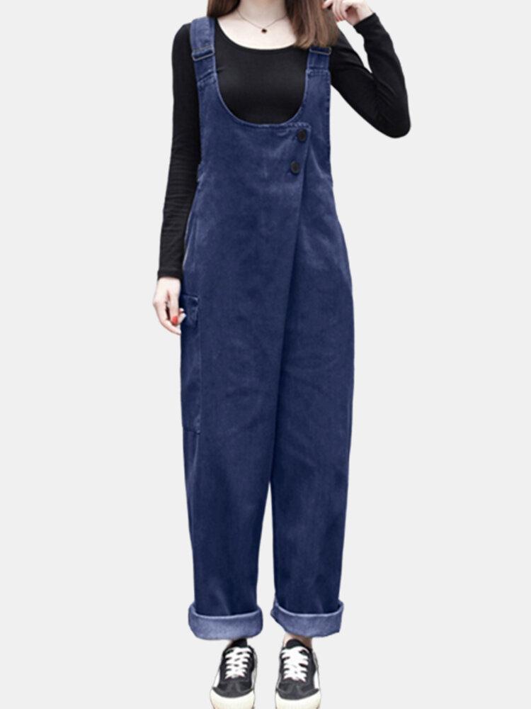 Solid Color Side Pockets Adjustable Straps Sleeveless Jumpsuits