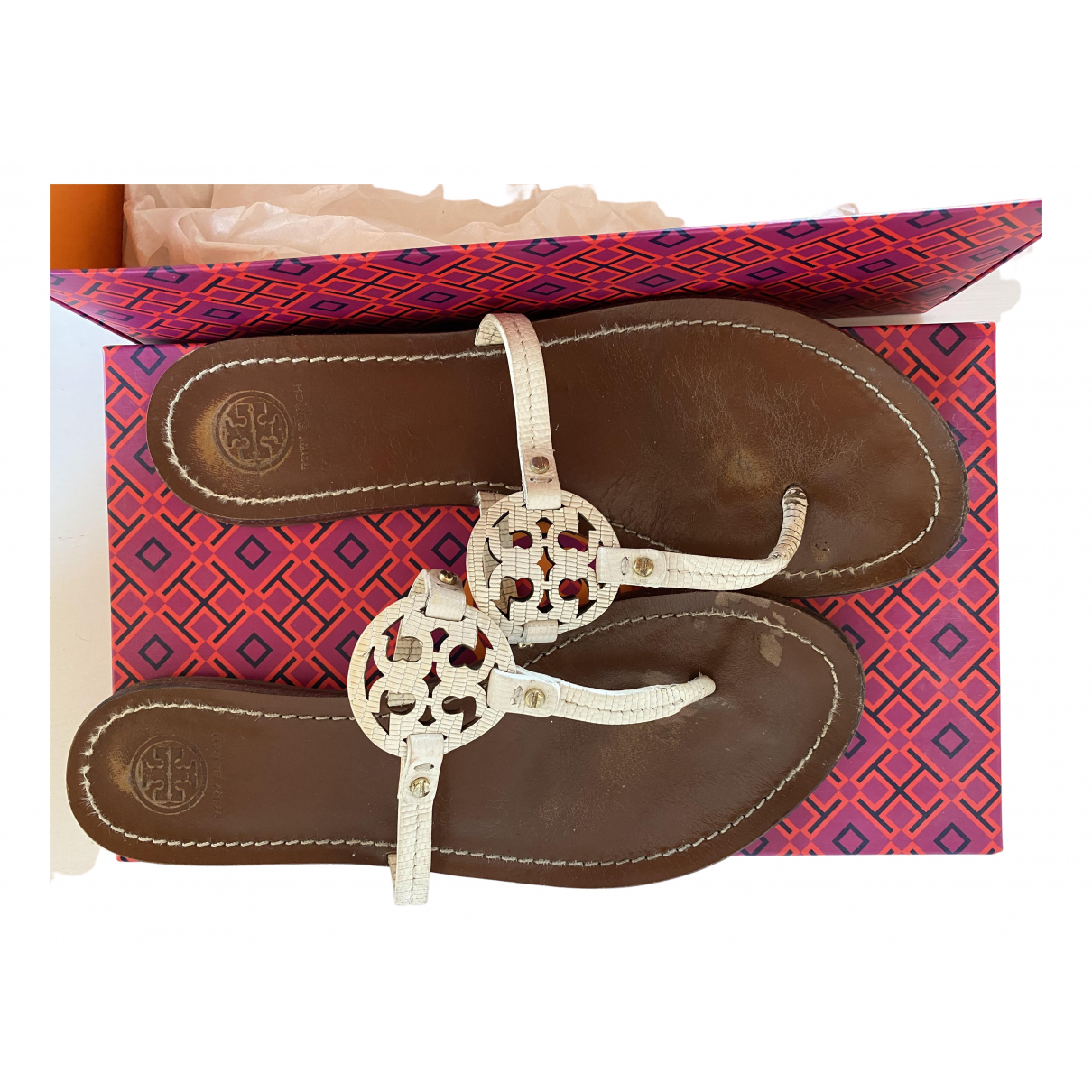 Tory Burch \N White Leather Sandals for Women 8.5 US