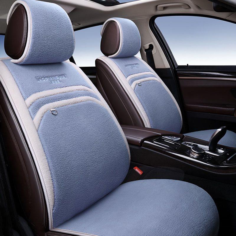 SHORT FLOSS Pink Purple Gray Khaki Beige Brown 5 Seats Winter Thicken Warm Universal Fit Seat Cover