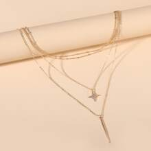 Mehrschichtige Halskette mit Leiste Dekor