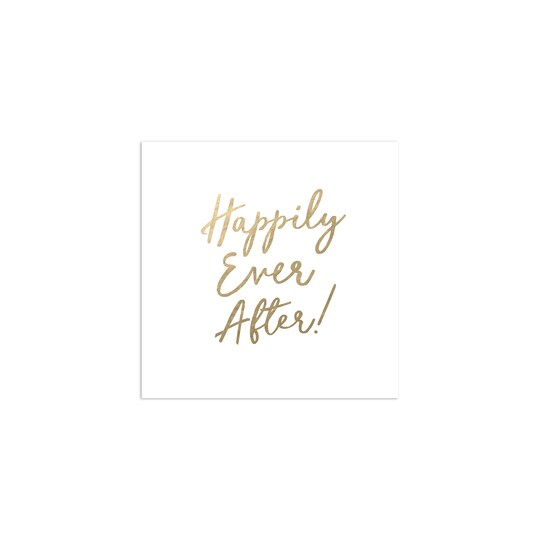 100 Pack of Gartner Studios® Personalized Happily Ever After Foil Wedding Cocktail Napkin in White | 4.75