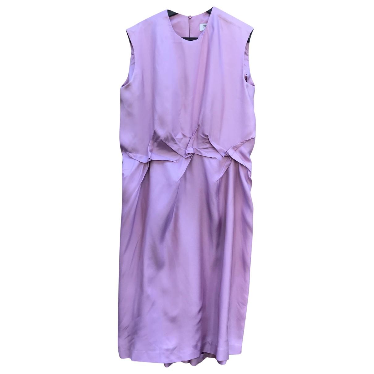 Yves Saint Laurent - Robe   pour femme en soie - rose