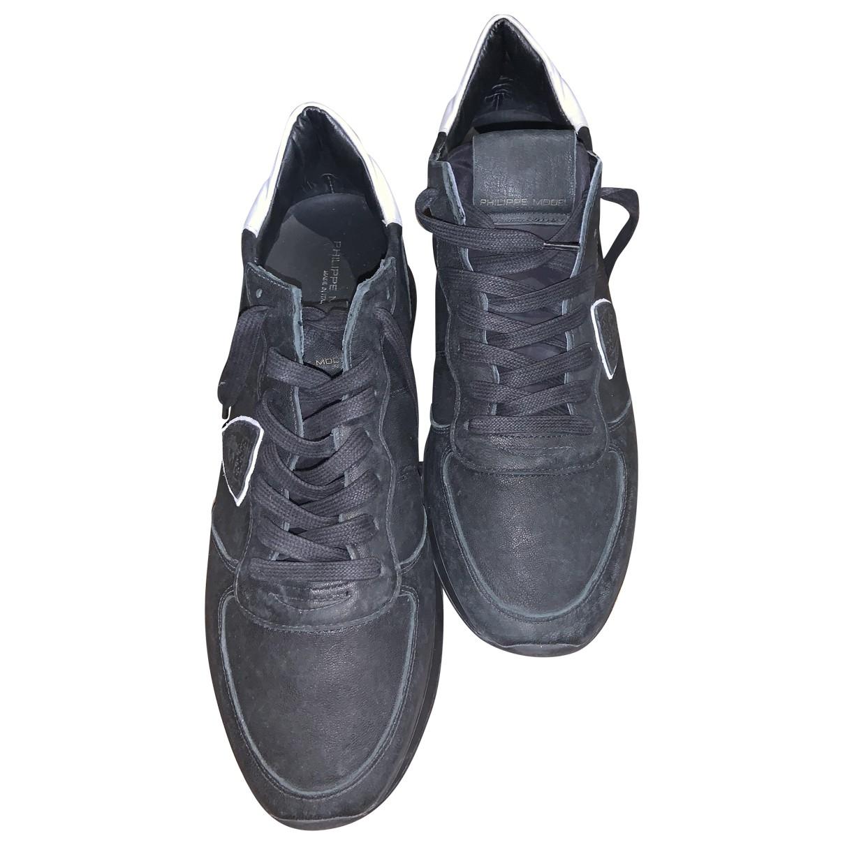 Philippe Model - Baskets   pour homme en cuir - noir