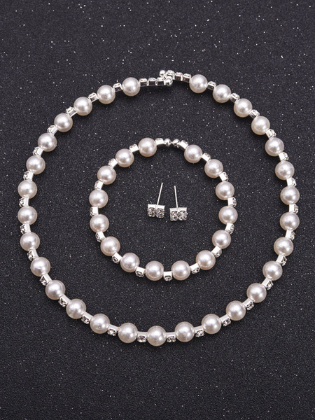 Milanoo Pearls Jewelry Set Wedding Bridal Rhinestones Vintage Bracelet Earrings Necklace Set