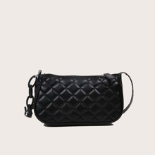 Solid Quilted Baguette Bag
