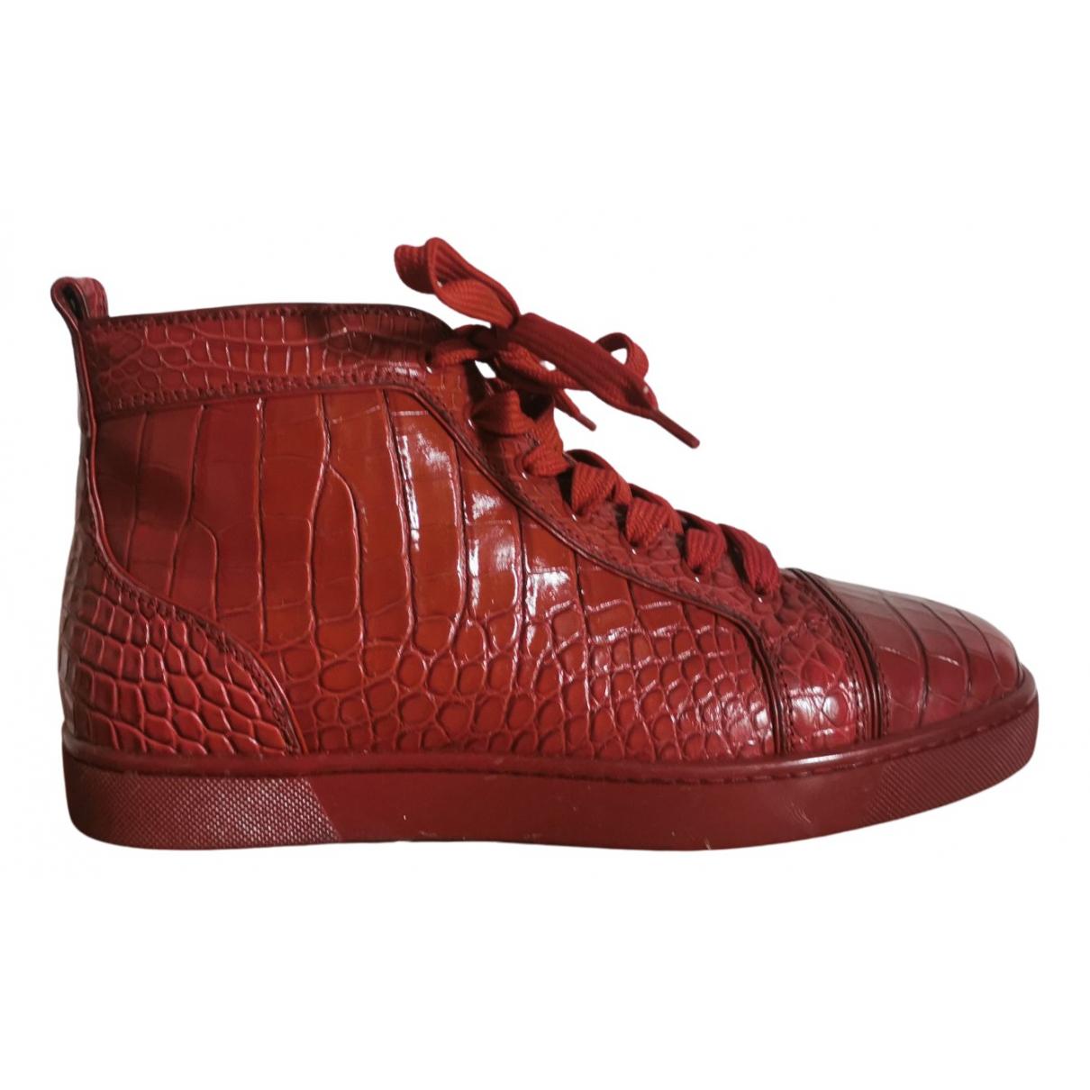 Christian Louboutin Louis Sneakers in  Bordeauxrot Krokodil