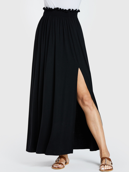 YOINS Black Shirring Slit Hem High-Waisted Skirt