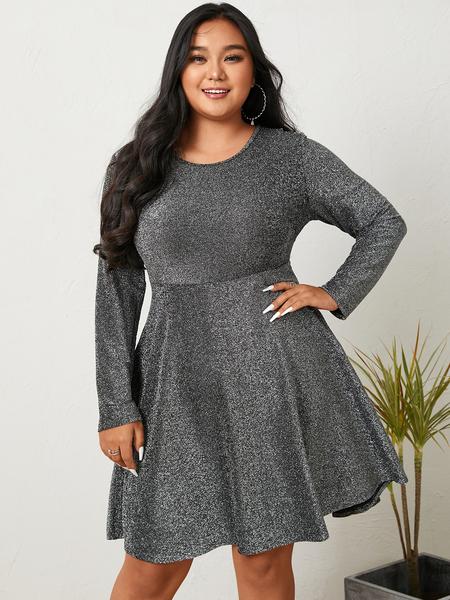 YOINS Plus Size Crew Neck Glitter Cut Out Long Sleeves Mini Dress