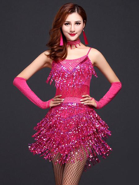 Milanoo Disfraz Halloween Rosa roja Latin Dance franja leche seda vestido de lentejuelas  Halloween