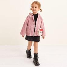 Toddler Girls Corduroy 3D Ear Design Dual Pocket Coat